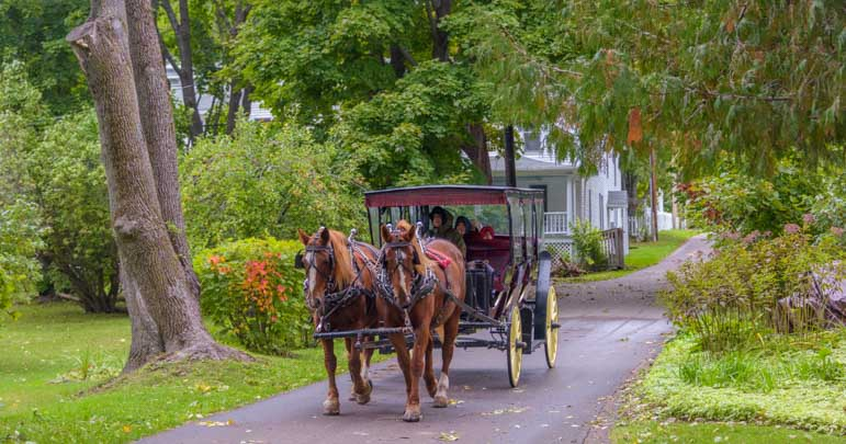 Horse and buggy on Mackinac Island Michigan-min