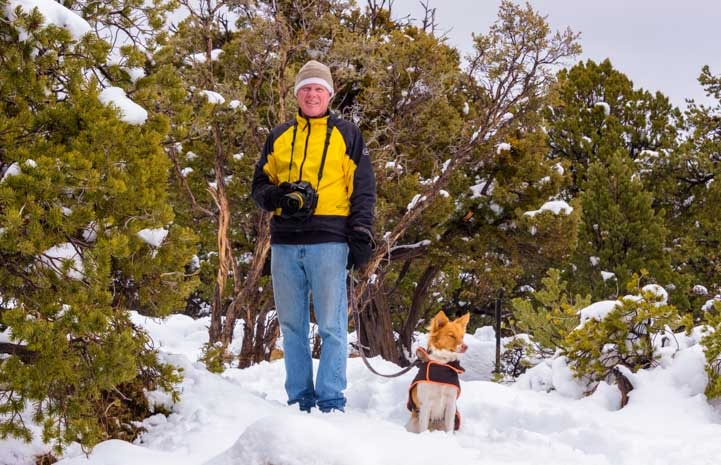 Ready to walk the snow trails at Grand Canyon National Park-min