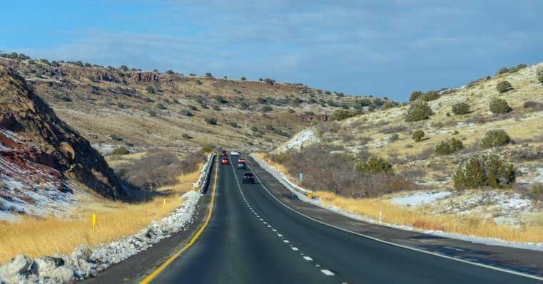 Snowy highway I-17 to Jerome AZ-min