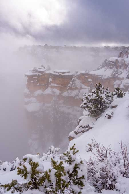Grand Canyon National Park snow and fog-min