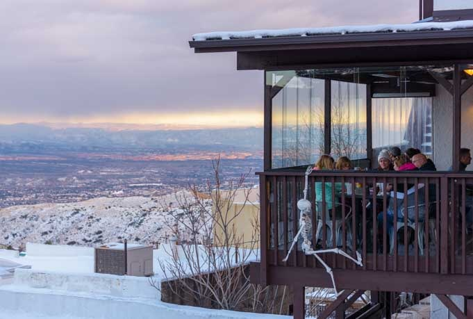 Eating on the deck with a skeleton Jerome Arizona-min
