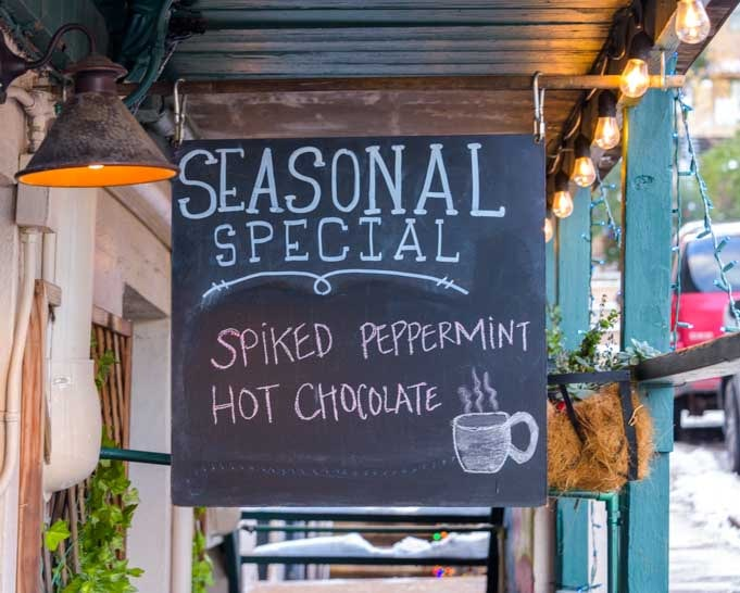 Spiked peppermint hot chocolate sign Jerome Arizona-min