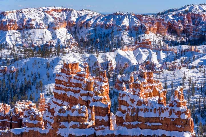 Snow at Bryce Canyon National Park with snow Sunset Point-min