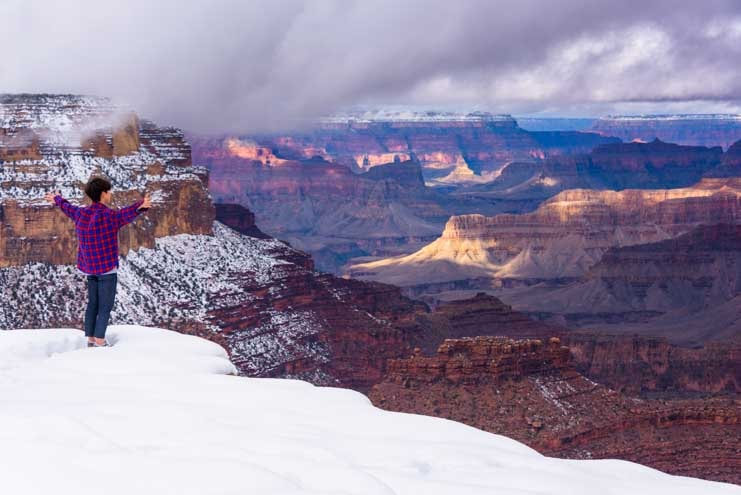 Views and snow at Grand Canyon National Park-min