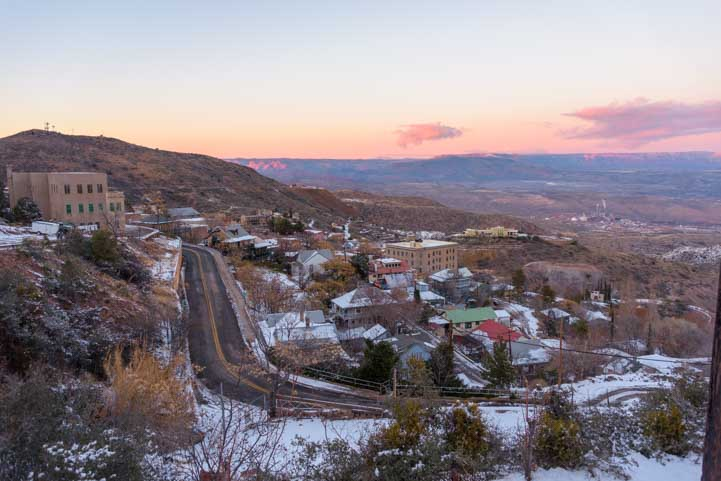 Streets of Jerome Arizona at sunset-min