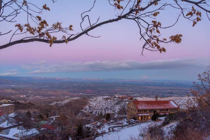 Pink and blue sunset Jerome Arizona-min