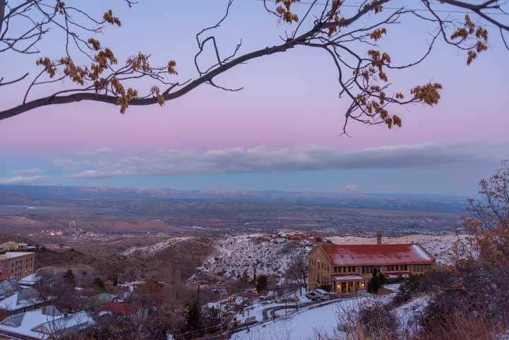 Pink and blue sunset Jerome Arizona-min