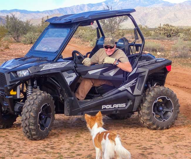 Polaris RZR 900 EPS XC UTV with puppy-min