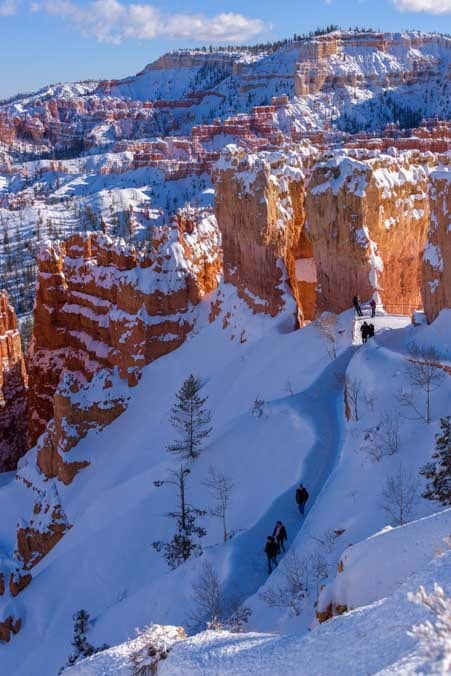 Hikers at Inspiration Point Bryce Canyon National Park with snow-min