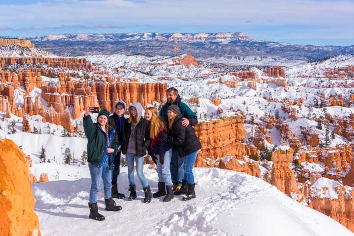 Selfie shot at Bryce Canyon National Park with snow-min