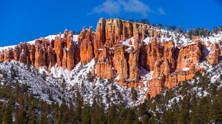 Snow on red rocks approaching Bryce Canyon Utah-min