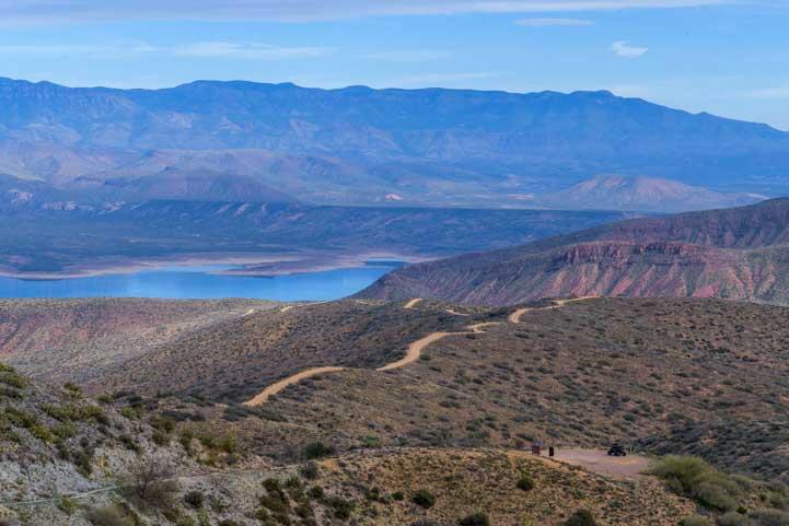 Ribbon of dirt trail in Arizona Sonoran Desert-min