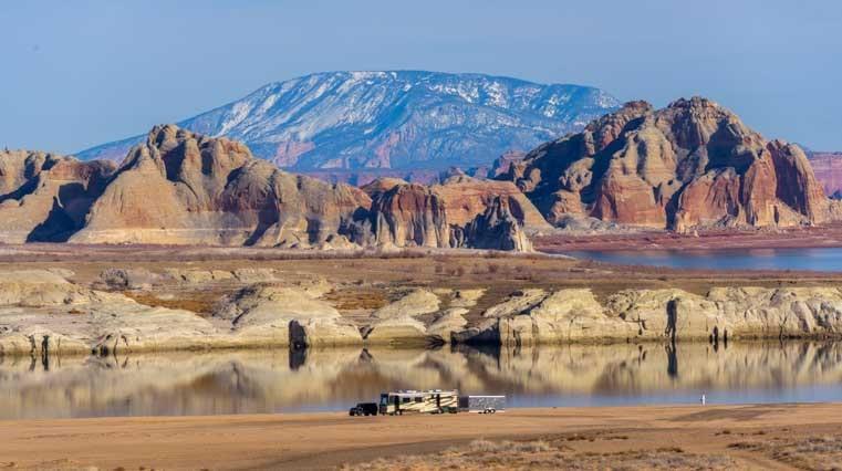 RV camping on the beach at Glen Canyon Arizona-min