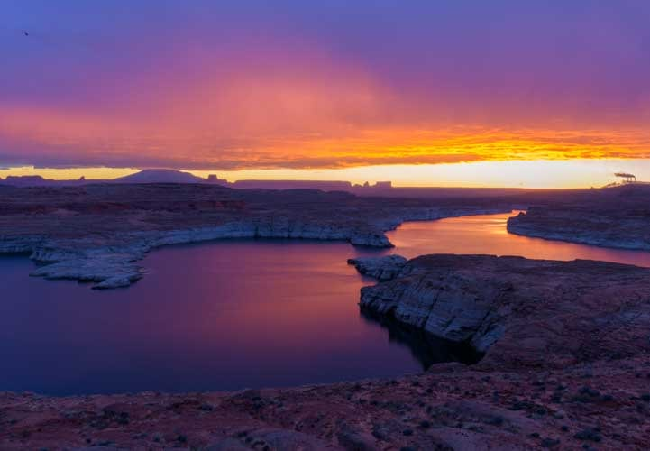 Magenta sky and water before dawn Glen Canyon Arizona-min