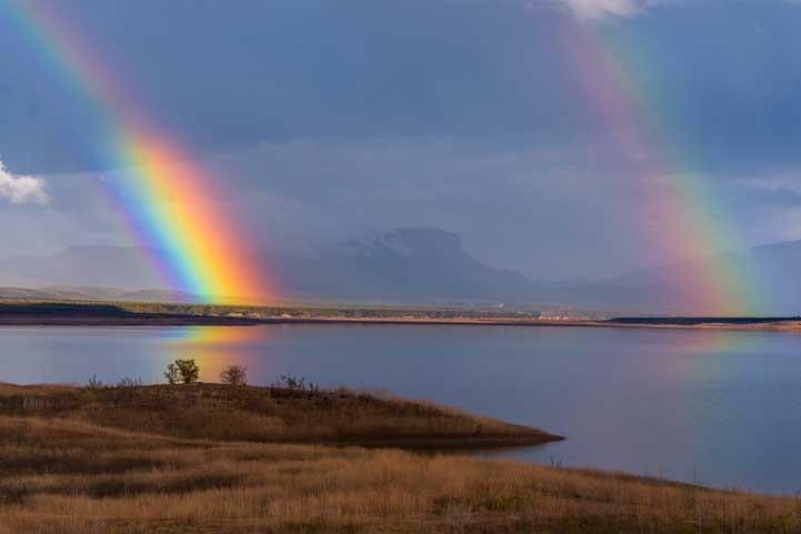 Double rainbow Roosevelt Lake Arizona-min