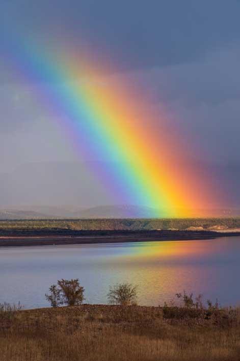 Rainbow on an Arizona lake-min