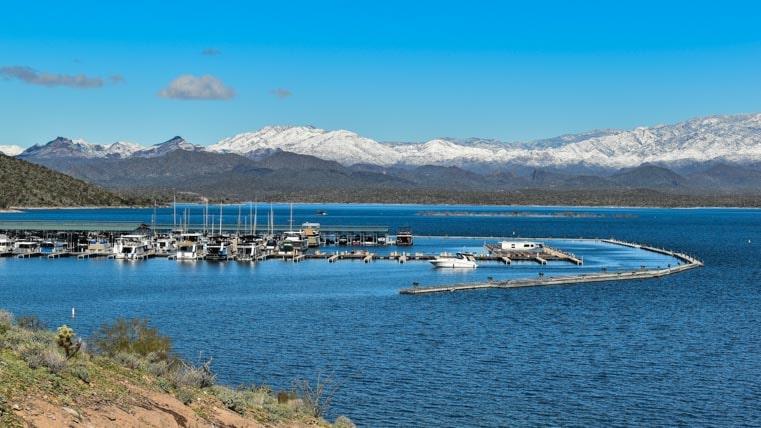 Scorpion Bay Marina with snow on the mountains Lake Pleasant AZ-min