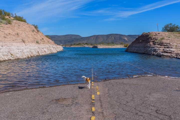 Lake Pleasant high water covers road-min