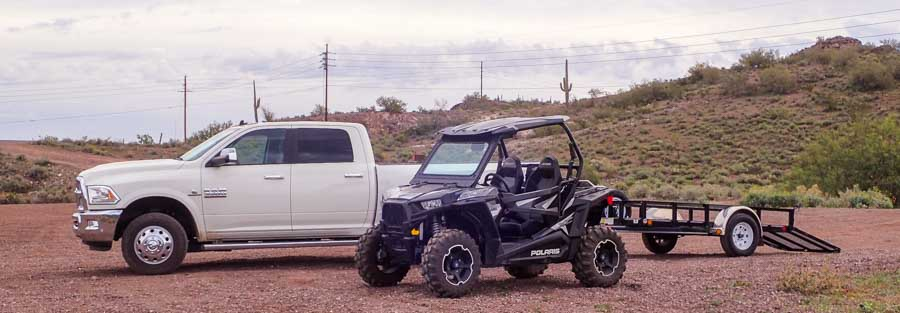 Dually truck Polaris RZR 900 XC EPS Edition and utility trailer-min