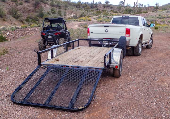 Utility trailer ramp down to load Polaris RZR 900 XC EPS Edition-min