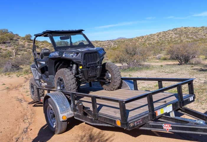 Polaris RZR 900 XC EPS Edition on utility trailer-min