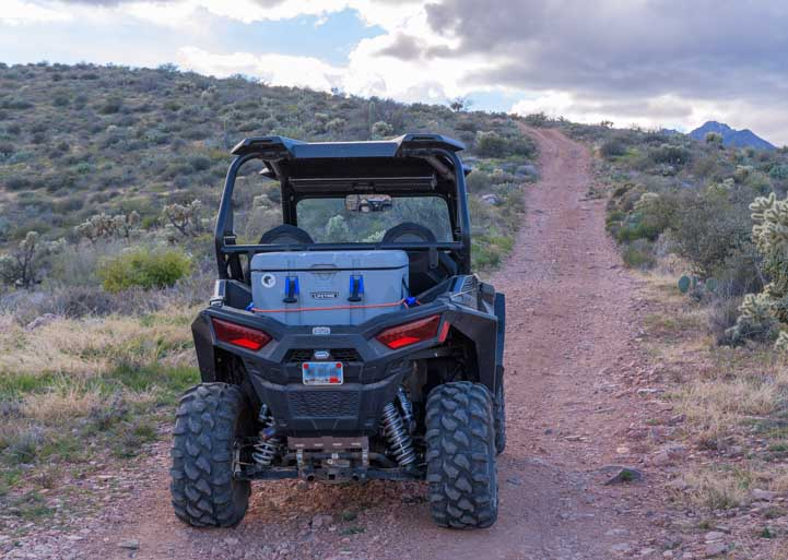 Lifetime cooler used as trunk for Polaris RZR 900-min
