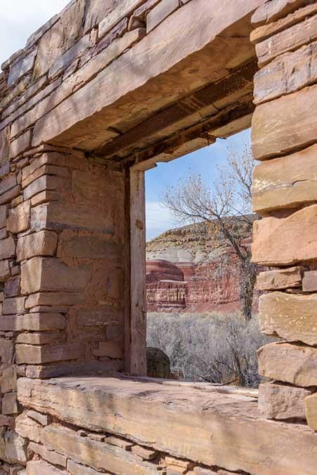 Stone house window Wayne County Utah-min