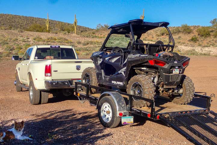 Polaris RZR 900 XC EPS Edition towed on utility trailer-min