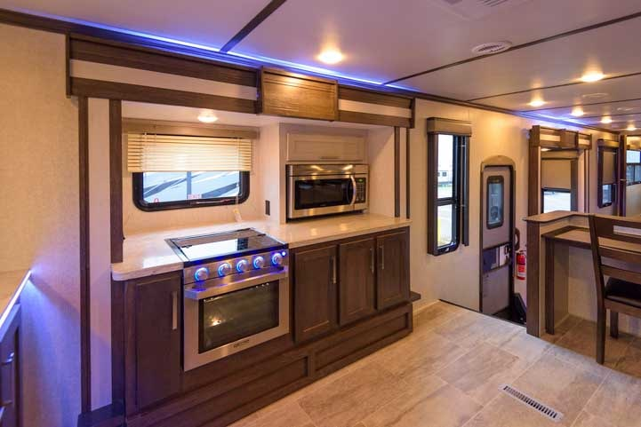 Keystone Raptor 427 toy hauler fifth wheel front kitchen 6-min
