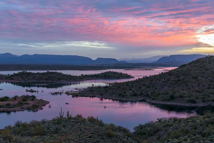 Dawn sunrise Lake Pleasant Regional Park Arizona-min