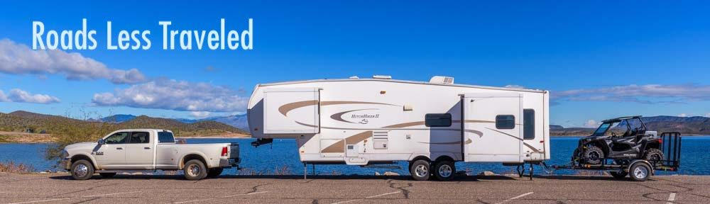 Arizona Triple-tow fifth wheel RV with Polaris RZR UTV side-by-side