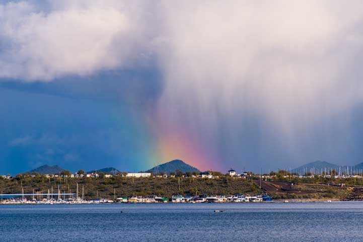 Rainbow storm clouds Lake Pleasant Arizona