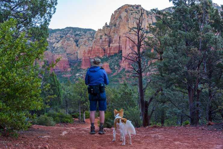 Checking the view Brins Mesa Trail Sedona Arizona-min