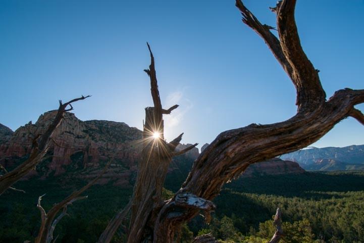 Starburst sunrise Brins Mesa Trail hike Sedona Arizona-min