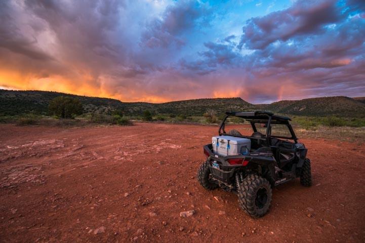 Polaris RZR in Sedona Arizona sunset-min