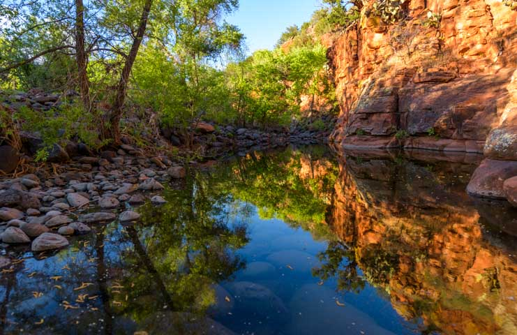 Water reflections Sedona Arizona-min