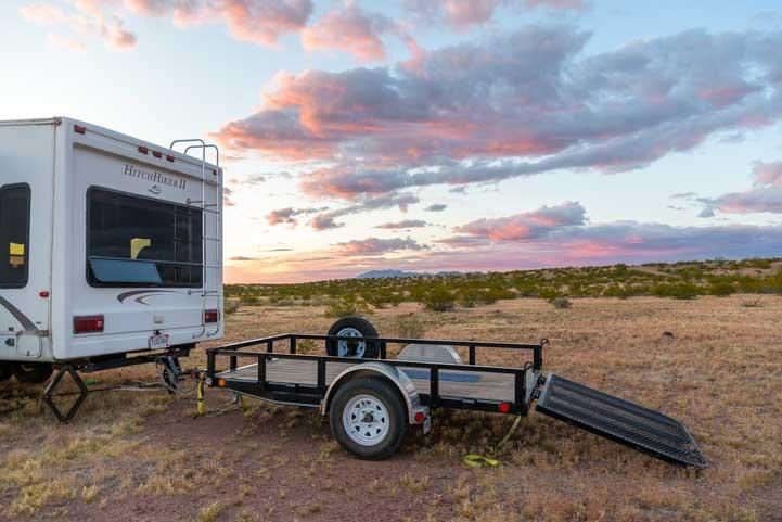 RV triple tow utility trailer patio deck-min