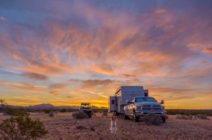 RV camping in the Arizona desert at sunset