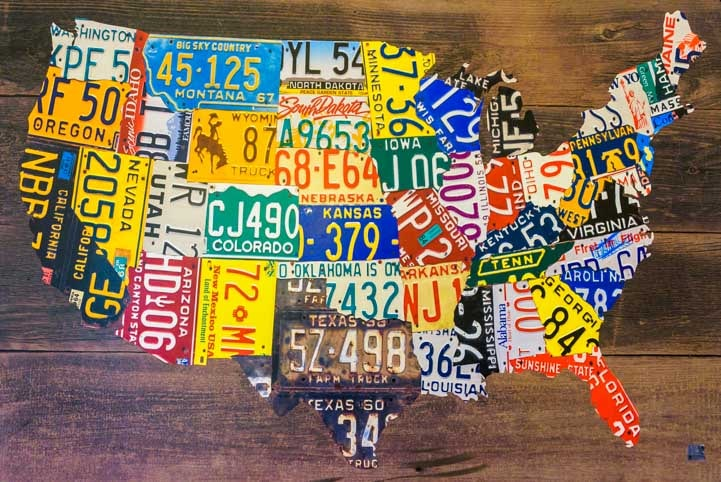 License plate map of USA wall art-min