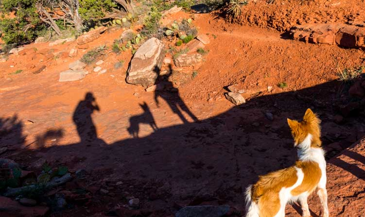 Playing with shadows during a red rock hike in Sedona Arizona