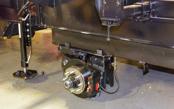 Luxe RV fifth wheel toy hauler frame with disc brakes-min