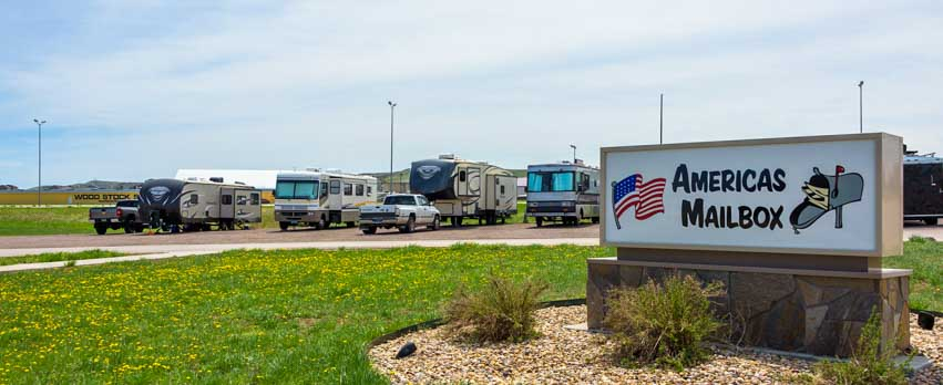 Americas Mailbox Mail Forwarding Service for full-time RV travelers Box Elder South Dakota-min