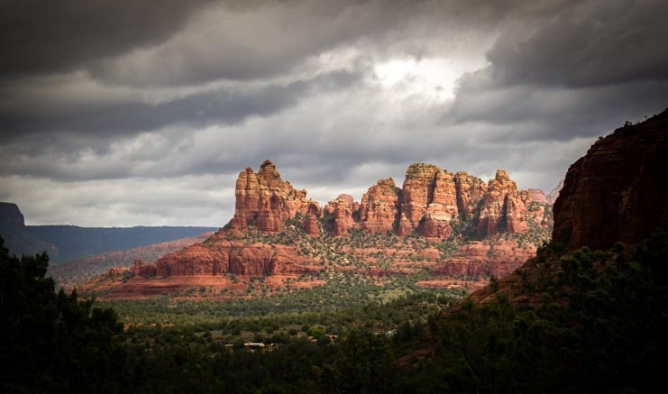 Sedona Arizona red rock pinnacles with storm clouds-min