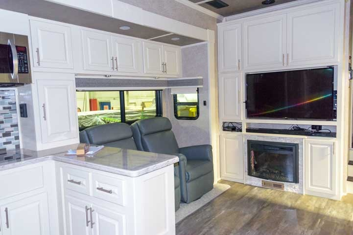 White interior Luxe fifth wheel toy hauler RV-min (1)