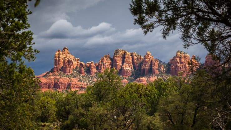 Red rock pinnacles with storm clouds Sedona Arizona-min
