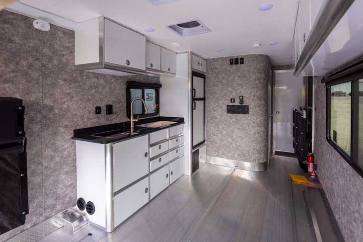 ATC Toyhauler fifth wheel trailer interior-min