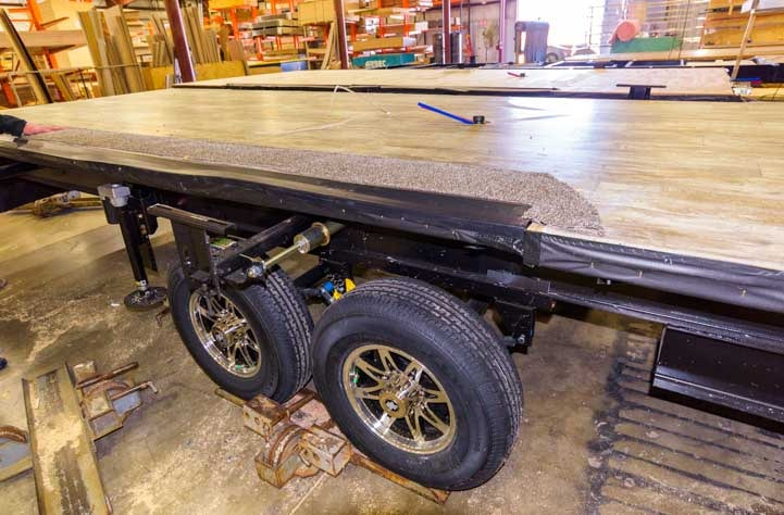 KZ RV Fifth wheel frame with flooring installed-min