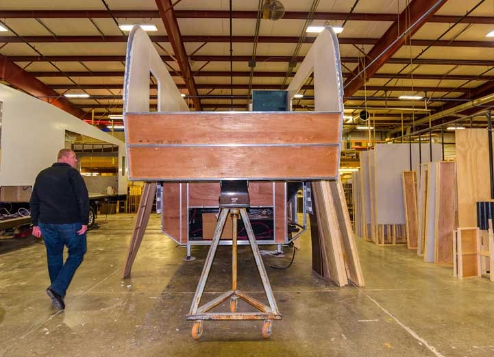 KZ RV Fifth wheel trailer under construction-min
