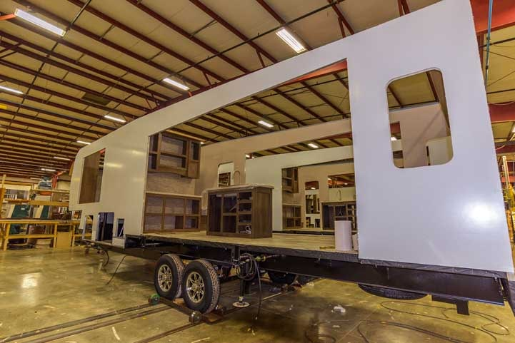 KZ RV Fifth wheel trailer being built at the factory-min