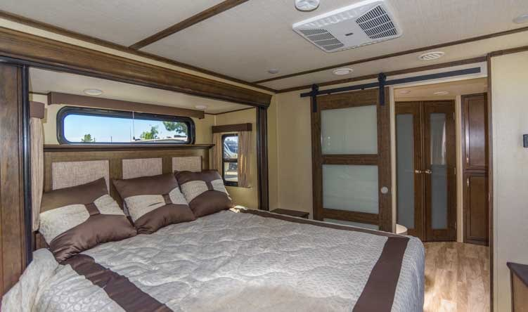 Grand Design Solitude 373FB Fifth wheel trailer RV bedroom-min